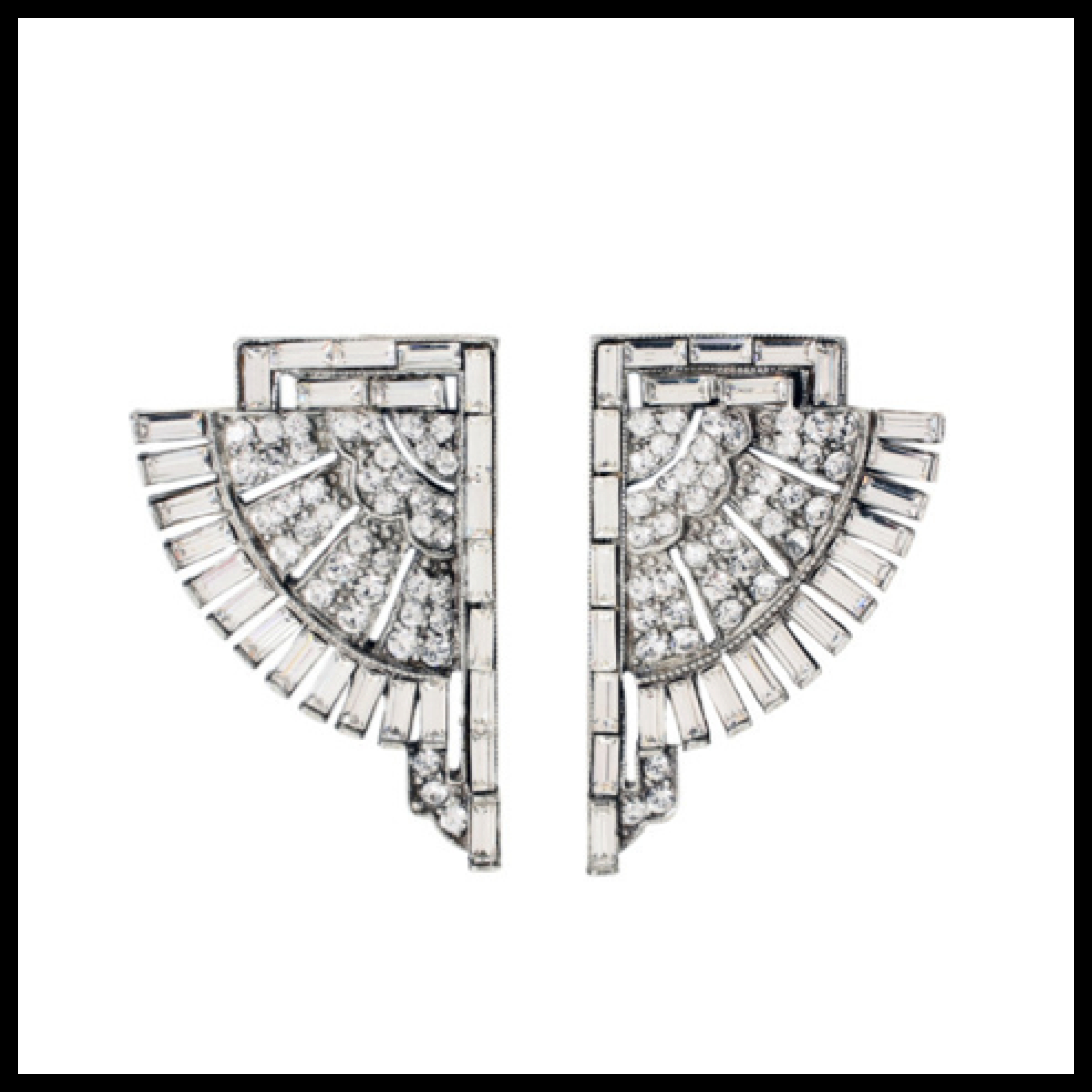 """f5ca2d963 Ben-Amun """"Deco Crystal Fan"""" earrings in antique silver plated pewter with  round and baguette shaped Swarovski crystals."""