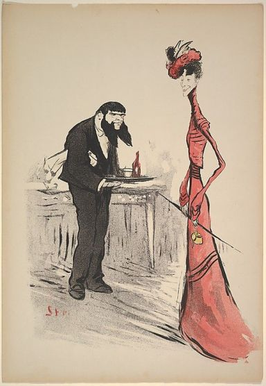A Woman in Red and a Waiter with a Forked Beard, ca. 1900.