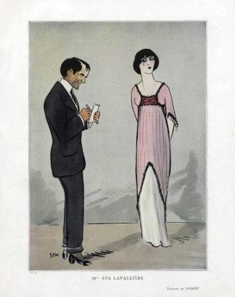 SEM 1910 Mlle Eve Lavallière Caricature, Evening Gown by Paul Poiret